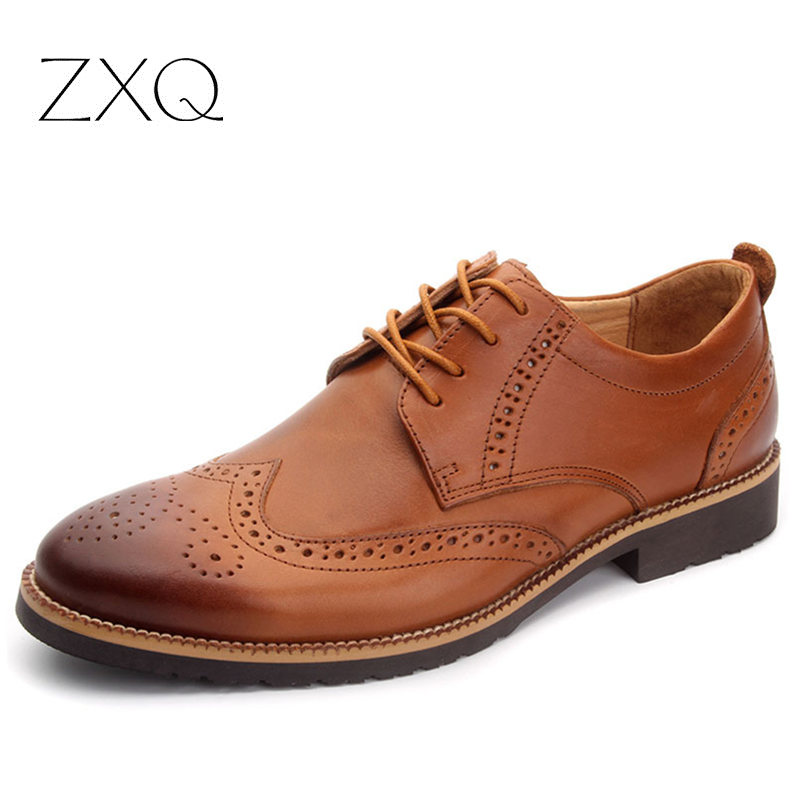 100% Genuine Leather Men Shoes Vintage Carved Oxford Shoes For Men Wedding Dress Shoes Luxury Brand Bullock S