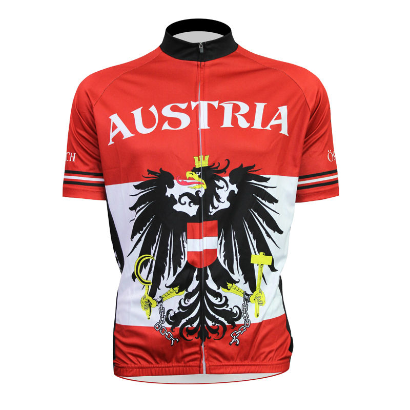 ФОТО Alien SportsWear Austria Flag Pattern Men top Sleeve Breathable Cycling Jerseys 100%Polyester Red bike top Size XS-5XL