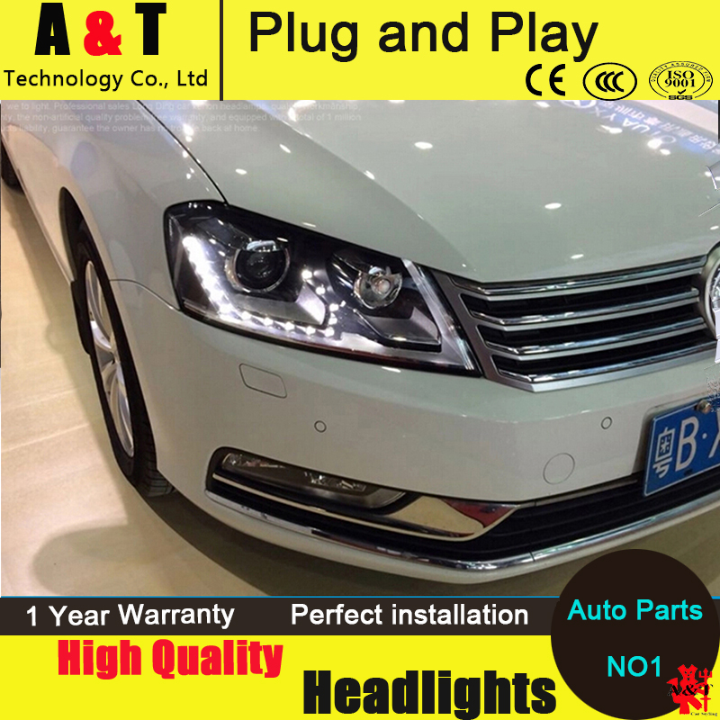 Car Styling Head Lamp for VW Passat B7 led headlight assembly Volks Wagen Passat B7 Headlight LED drl H7 with hid kit 2pcs. набор автомобильных экранов trokot для vw passat b7 2010 2014 на передние двери tr0408 01
