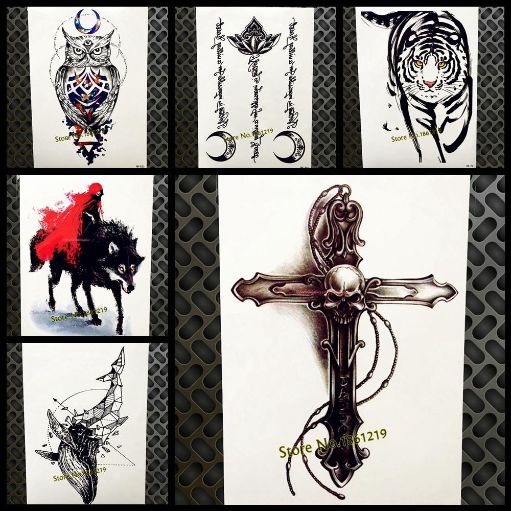 Black SABBATH Skull Cross Temporary Tattoo Stickers Men Women Body Art Flash Fake Tatoo Chest Crucifix Waterproof Tatoo Neck