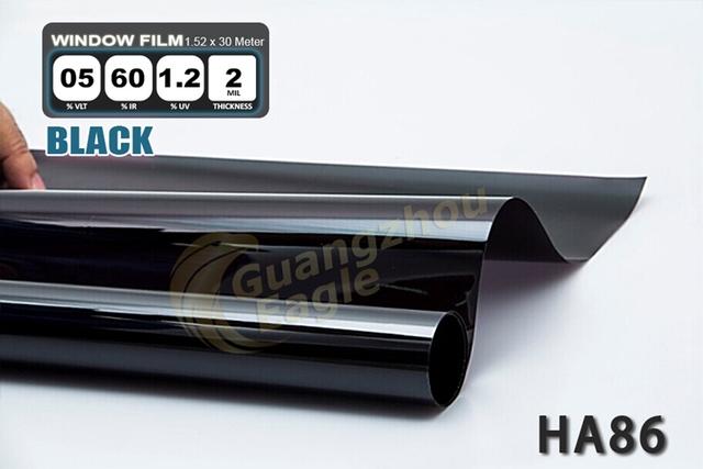 1.52 * 30 m de alto rendimiento del coche del animal doméstico Solar Car Window Tint Film Foil envío gratis / negro / HA-86