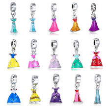 Princess Enamel Dress Pendant Silver Plated Girl's Skirt Cinderella Alloy Charm Beads Dangle European Jewelry Accessories MX54(China)