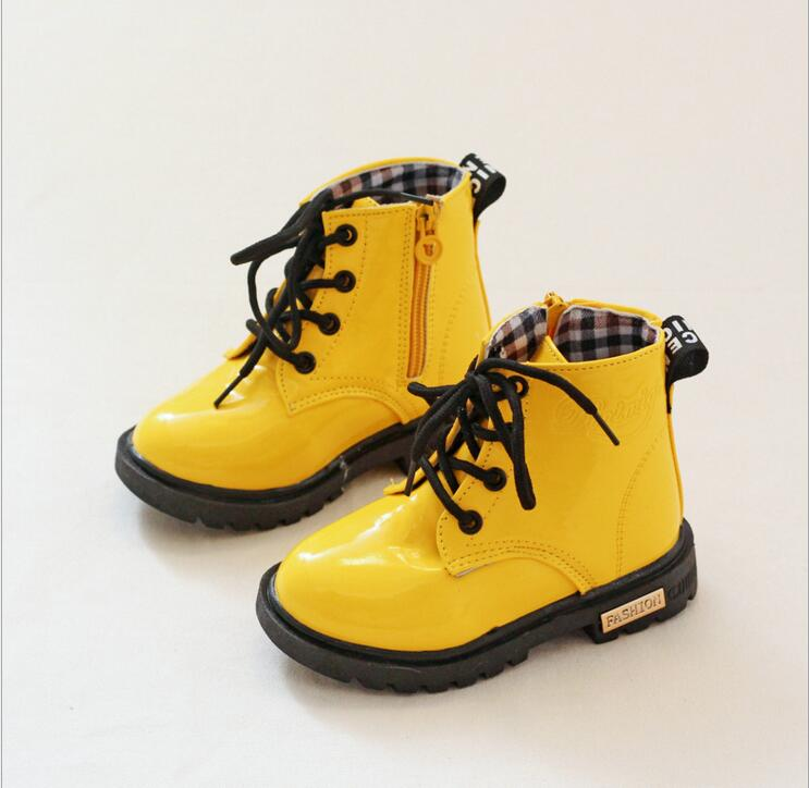 Kids PU Leather Boots Teen Boys Girls Spring Shoes Children Martin Motorcycle Boots Chaussure Enfant Waterproof Ankle Rain Boots