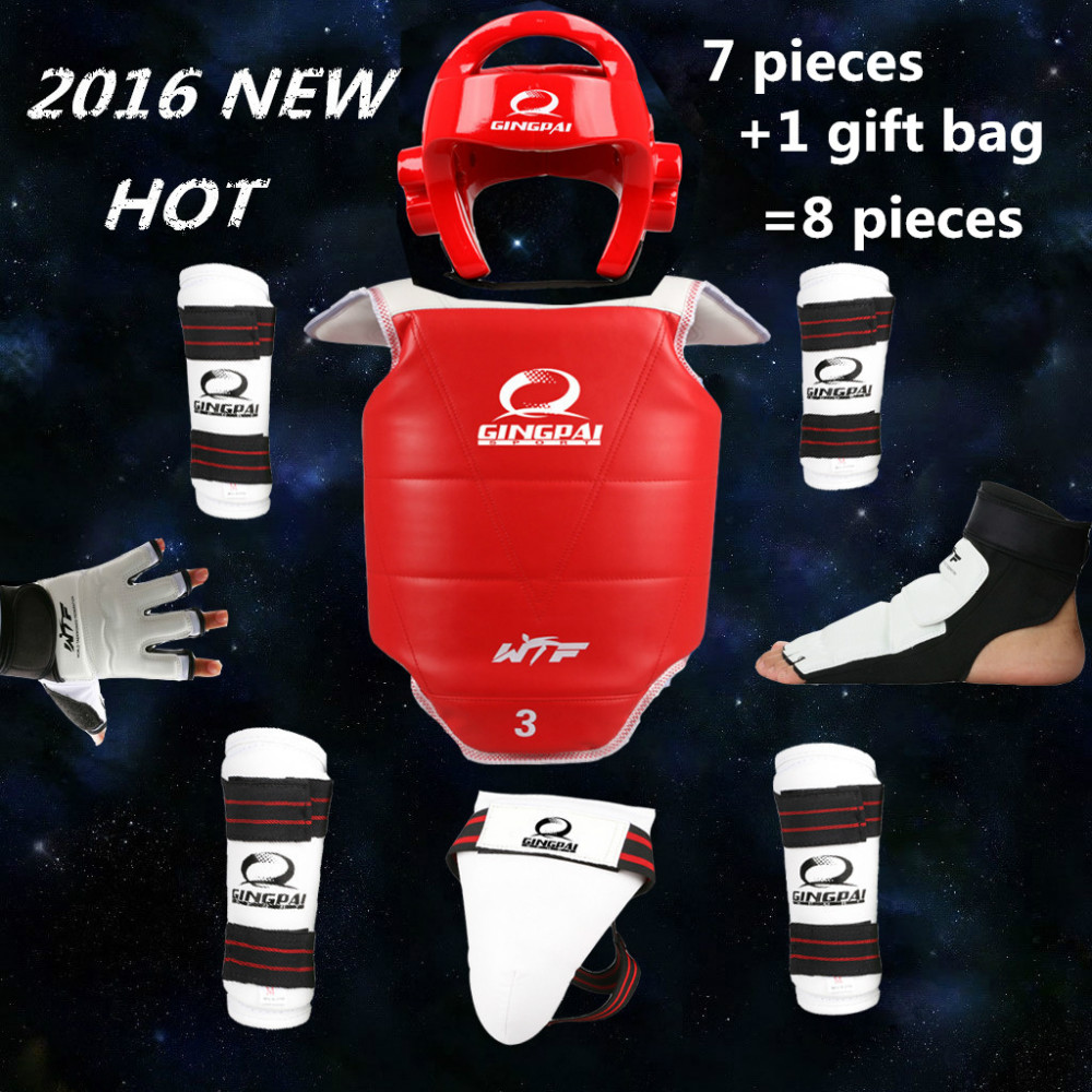2016 new taekwondo protectors full set of 8 pieces child adult Helmet Chest head protector Armguards Shank protector Crotch 2018 new taekwondo chest protector target boxing protector wushu sanda training exercise chest thai protector free shipping