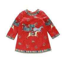 2-7 Лет Девушка Платье Лошадь Печати Платье Para Bebes Красное Платье Дети Girls Party Платье Принцессы Детей носить