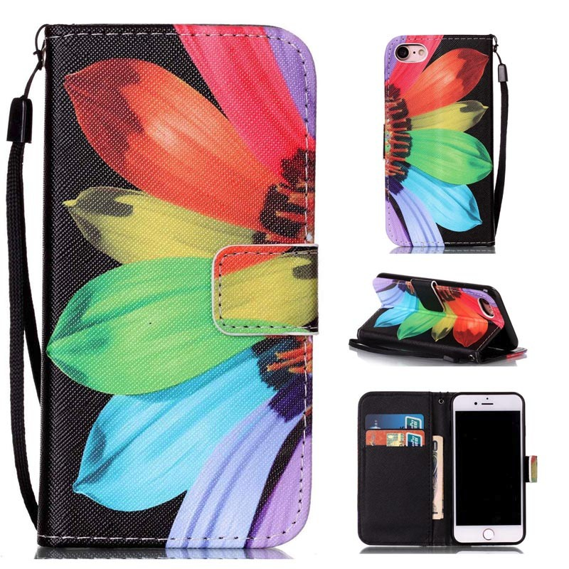 Uftemr Phone Case for iPhone 7 Luxury PU Leather Sun flowers Dream wheel Owl Cartoon Flip Wallet Cover for iPhone 7 Cases
