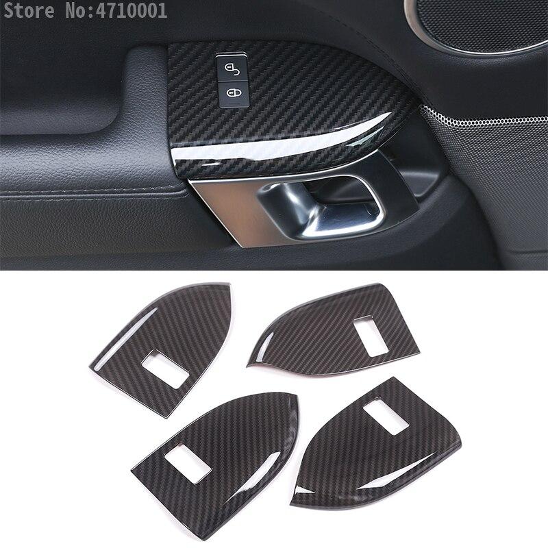 Fibre de carbone Style pour Land Rover Range Rover Sport RR Sport 2014-2017 ABS plastique enfant serrure cadre couvercle garniture 4 pièces/ensemble