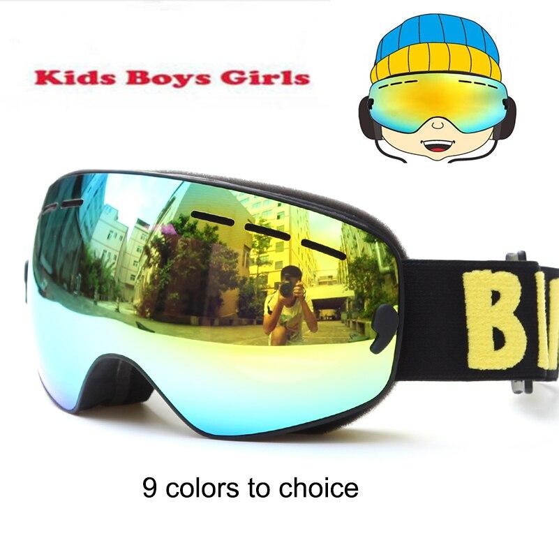 Marque Snowboard lunettes Enfants Double Lentille UV400 Anti-brouillard Ski Neige Lunettes Enfant Ski Masque Hiver Filles Garçons Lunettes lunettes 4-15