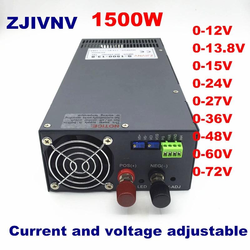S-1500W Alimentation à découpage, tension et courant réglable Ac Dc Transformateur D'alimentation DC12V 13.8 v 24 v 27 v 36 v 48 v 60 v 72 v