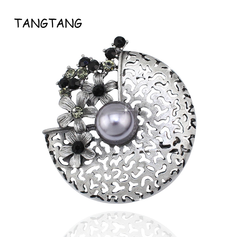 Antique Tin Alloy Palted Nature Gray Stone Brooches And Pins For Women Ladies Jewelry Fashion Banquet Accessories Item: BRH1006