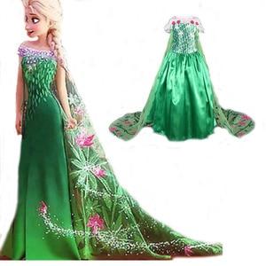 Disney Frozen dress green elsa costumes Girls Cosplay party Princess anna vestidos de festa meninas for children kids moana elza(China)