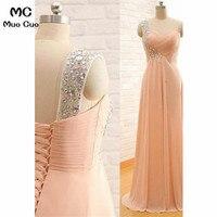 Elegant 2018 One Shoulder Prom Dresses Long with Beaded Chiffon Vestido Longo Floor Length Formal Evening Party Dress for Women