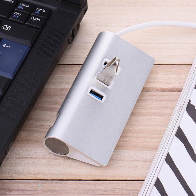Prata Liga de Alumínio hub 3 Portas usb HUB com Porta RJ45 para-tipo C USB3.0 Concentrador Mini Compatível com USB 2.0/1.2/1.0