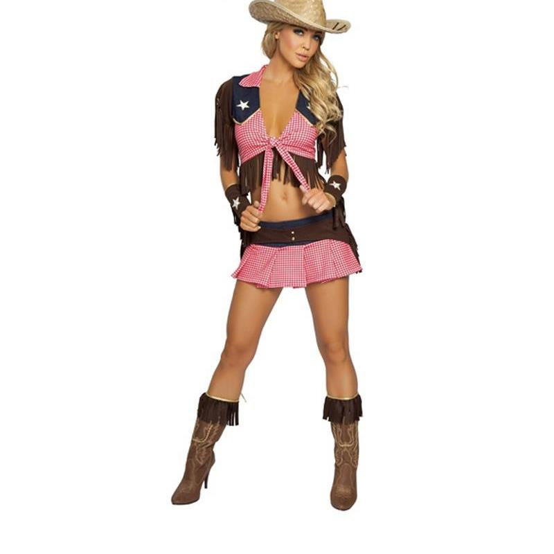 New Pink Country Cowgirl Adult Outfit Circus Costume <font><b>Halloween</b></font> Masquerade <font><b>Sexy</b></font> West Cowboy Uniforms Role Play Clothes A444203 image