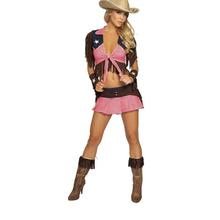 New Pink Country Cowgirl Adult Outfit Circus Costume Halloween Masquerade Sexy W