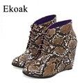 Ekoak 2016 nuevo de las mujeres de las cuñas de botas de mujer de tacón alto plataforma botas sexy tobillo botas para mujer de los zapatos de otoño botas