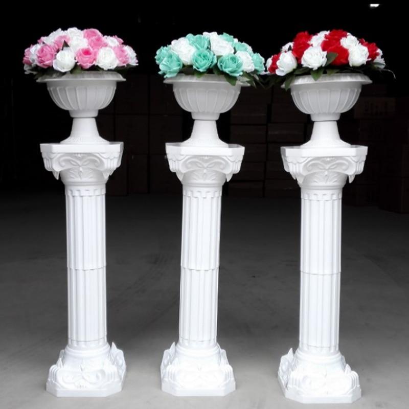 2pcs/lot Plastic Roman Column Fashion Wedding Props Decorative Roman Columns White Color Plastic Pillars Road Cited Party Event