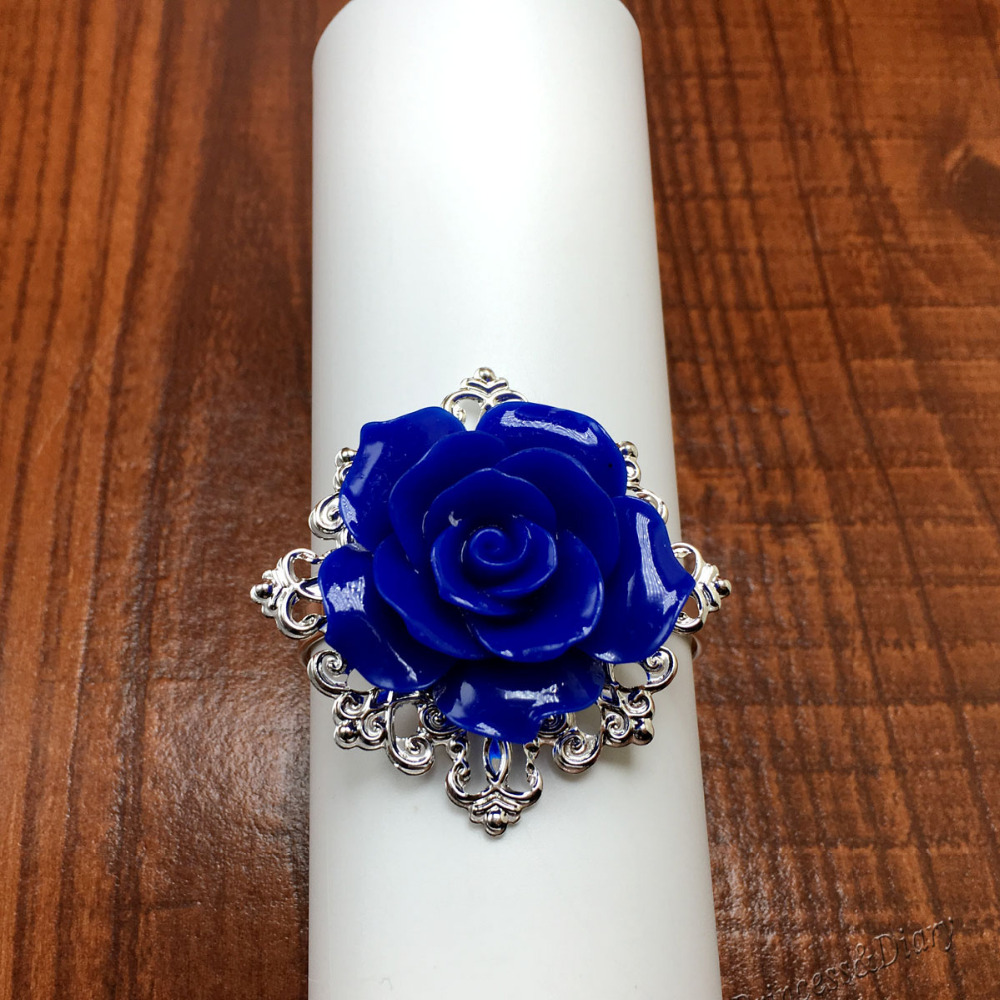 25pcs/lot Dark Blue Rose Napkin Rings Silver Hoops Romantic Nice Looking Weeding Party Table Decoration
