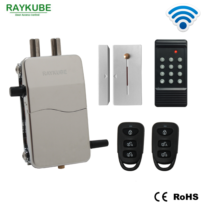 RAYKUBE Access Control Kits Wireless 433MHZ Electric Door Lock Security Door With Password Keypad Remote Control Lockey R-W39