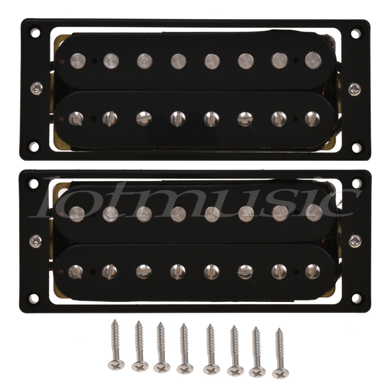 8 String Pickup Humbucker Double Coil Pickups Electric Guitar Parts Accessories Bridge Neck Set Black kmise electric guitar pickups humbucker double coil pickup bridge neck set guitar parts accessories black with chrome gold frame