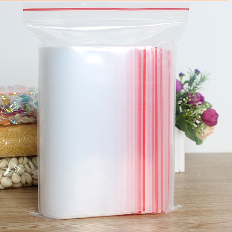 100pcs Thick Transparent Plastic Bags Ziplock Zipped Lock Reclosable Plastic Poly Transparent Bag Jewelry Packaging Bags