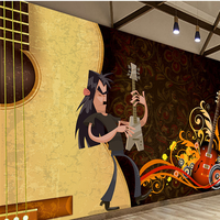 Free shipping custom Personality Cartoon Character Theme Bar Guitar Music wallpapers for living room wallpaper for kids room