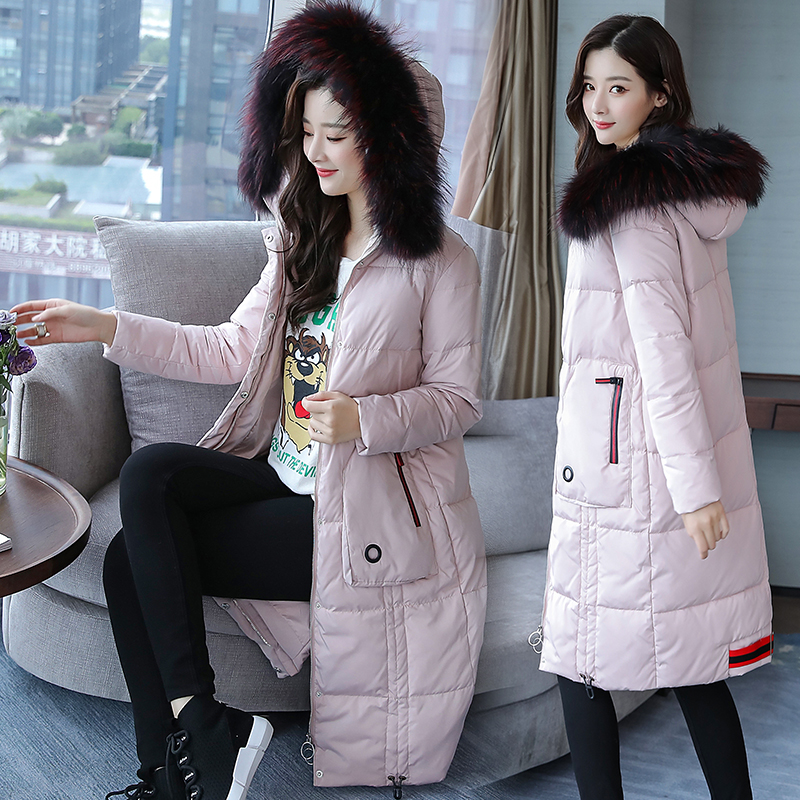 2017 winter new womens fashion luxury large fur collar down jacket womens long thick coat tide