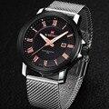 Reloj hombre 2016 Marca Men Relógios Militar cinto de Malha Dupla Calendário Men Casual Quartz Watch NAVIFORCE 9052 relogio masculino