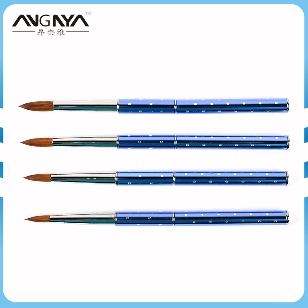 ANGNYA High Quality #4#6#8#10#12#14#16#18#20#22 Brush for Nail Acrylic Brush Metal Handle with Diamond Kolinsky Hair Nail Brush