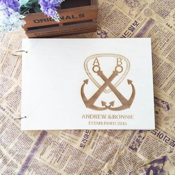 Rustic Wedding Guest Book ,Custom Names Guest Book,Guestbook Wedding,Wood wedding guestbook, Anchor Wedding,Laser Engraved