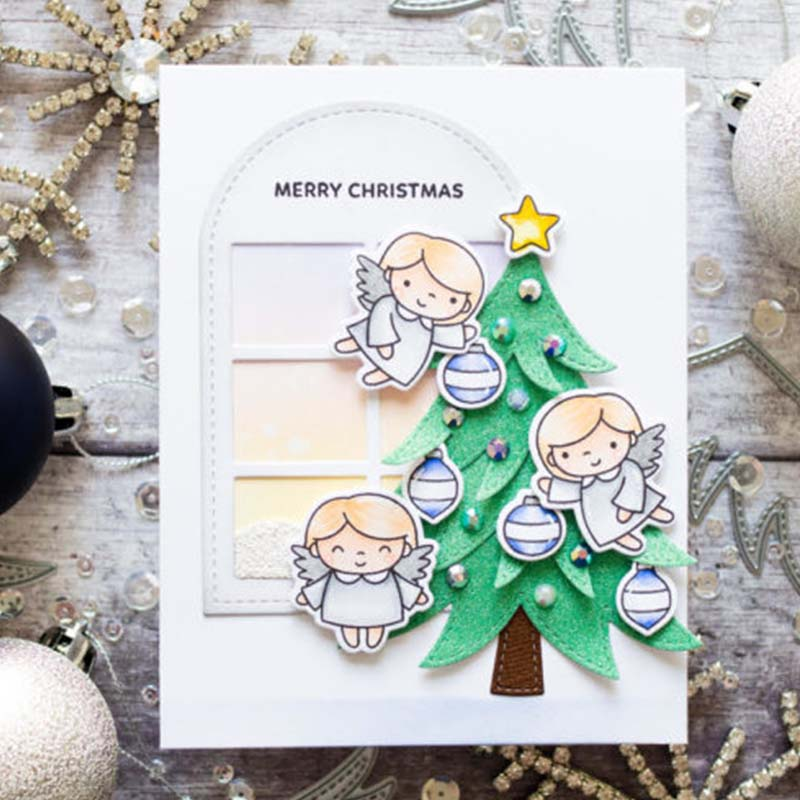 Happy Holidays Angels Transparent Stamps Clear Stamps for DIY Scrapbooking Paper Card Making Decorative Crafts Supplies 4 6inch in Stamps from Home Garden