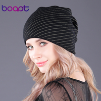 Boapt Genuine Soft Cashmere Gold Line Knitted Women S Winter Hat Beanies Female Fashion Skullies