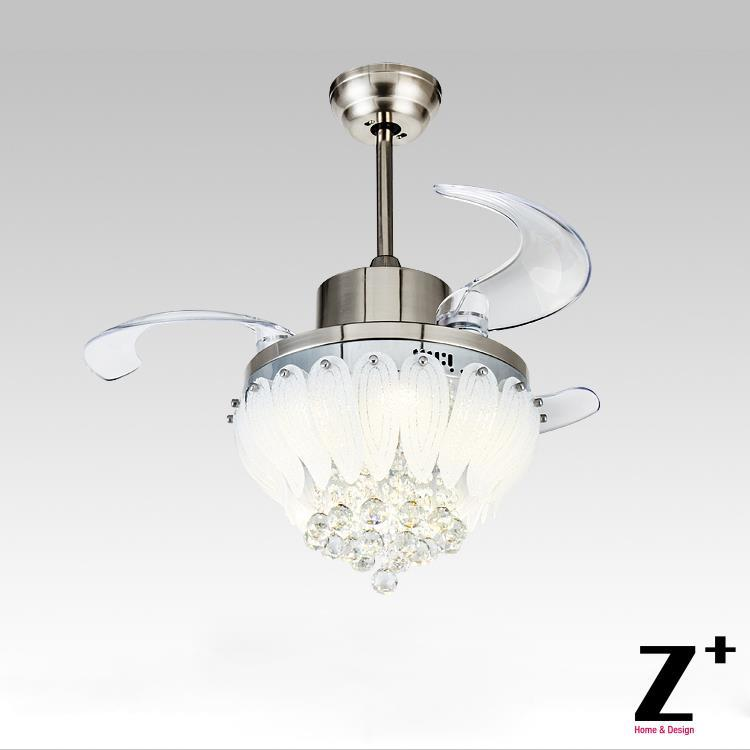 Ceiling Fan With Chandelier Light: American Modern Style Led Lights Lotus 3 Collapsible Fan