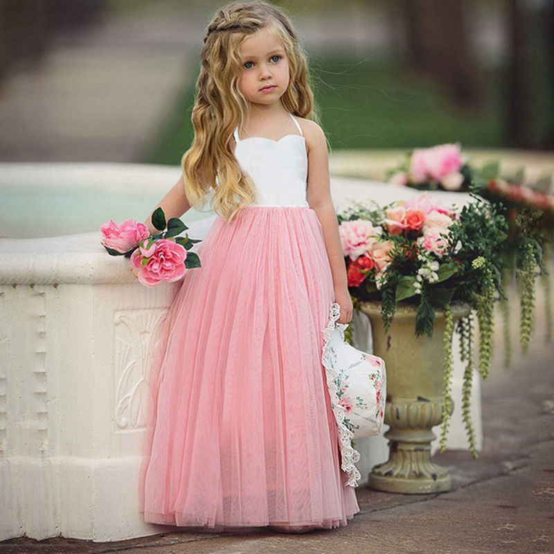 Princess Dress Toddler Baby Kids Girls Wedding Party Prom Birthday Tutu Sleeveless Long Dresses Pink birthday pink tutu dresses 1st newborns baby girl romper tutu dress set toddler infantil roupas de bebe baby clothes nb 24 month