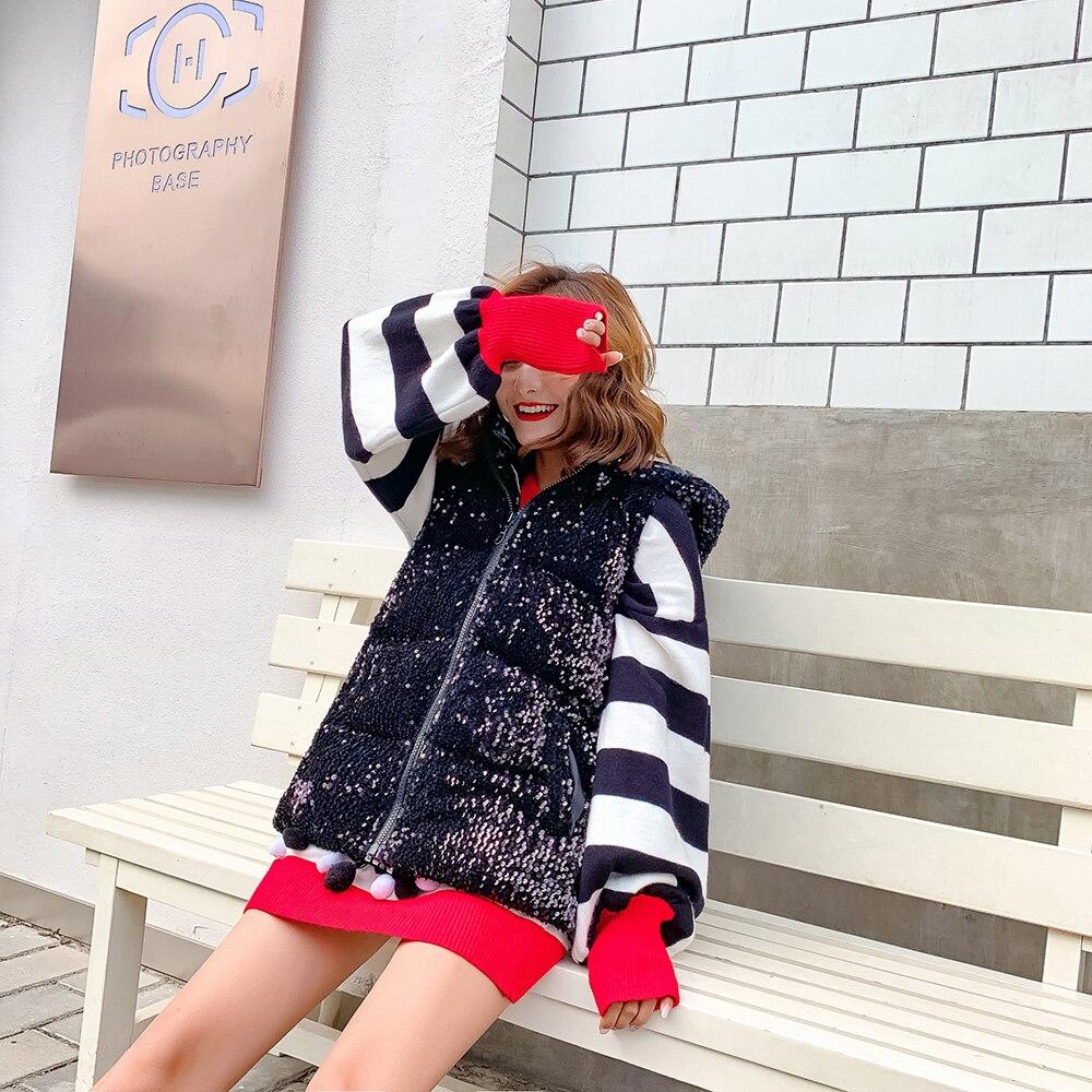 Inverno Gilet High Della In Cappuccio New Maglia Spessore Mumuzi Paillettes Autunno Femminile Con E 2018 Street Chic Di Allentata Cappotto Europeo wH0Ax8