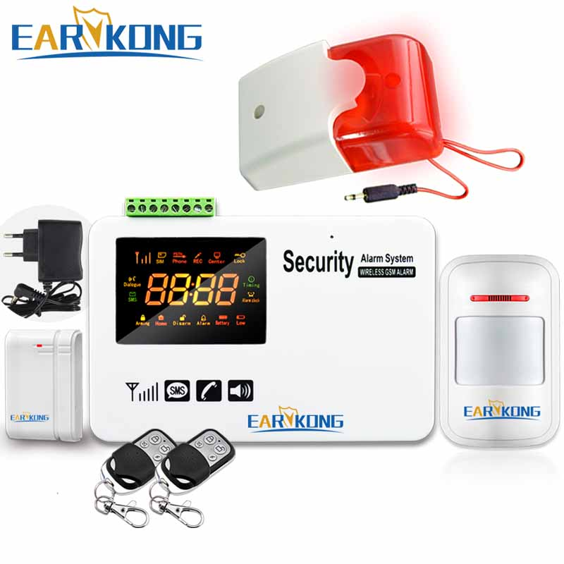 Big Selling GSM Alarm System LCD Screen Display English Russian Spanish Voice Prompt SMS Alarm Wireless Door Open Motion Sensor 1 pair stand alone gsm magnetic door open alarm car windows anti thief support russian english black color
