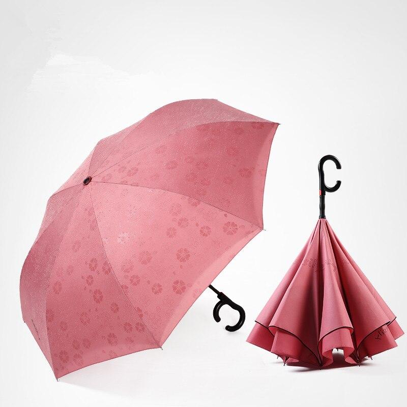 115 cm 2-3person auto ouvert c-crochet agrandir double couches inverse mains libres parapluie inversé eau fleur magique debout parasol - 3