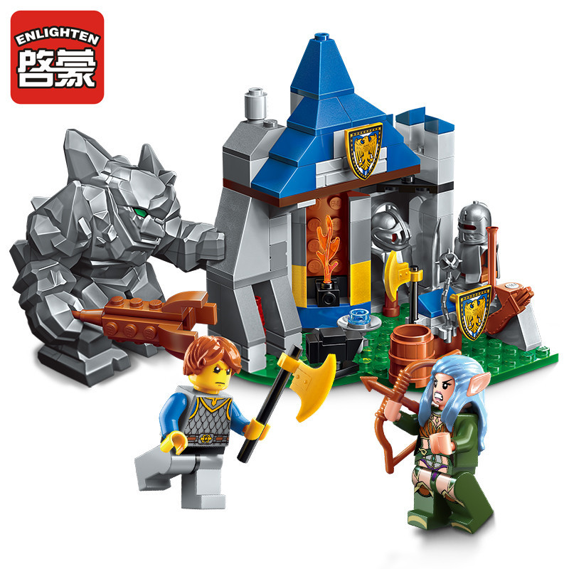 Enlighten Building Block War of Glory Castle Knights Defend Barrack 3 Figures 134pcs Educational Bricks Toy Boy Gift enlighten new 2315 656pcs war of glory castle knights the sliver hawk castle 6 figures building block brick toys for children