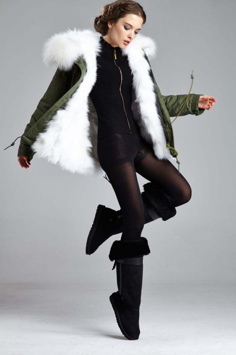 Real Fur Coats White Fox Fur With Hooded Women's Slim fur coat ...