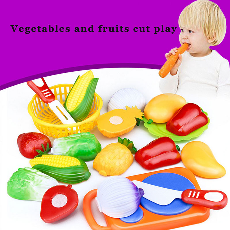 12PCS Children Kitchen Pretend Play Toys Cutting Fruit Vegetable Food Miniature Play Do House Education Toy Gift for Girl Kid