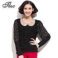 Appliques Decoration Women Fashion Black Blouses Plus Size L 5XL Peter Pan Collar Puff Sleeve Design