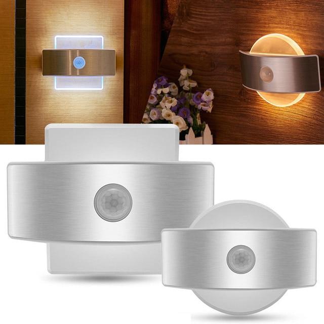 Luz noturna recarregável usb, com sensor de movimento, 14 leds, sem fio, lâmpada de parede, para crianças, cabeceira
