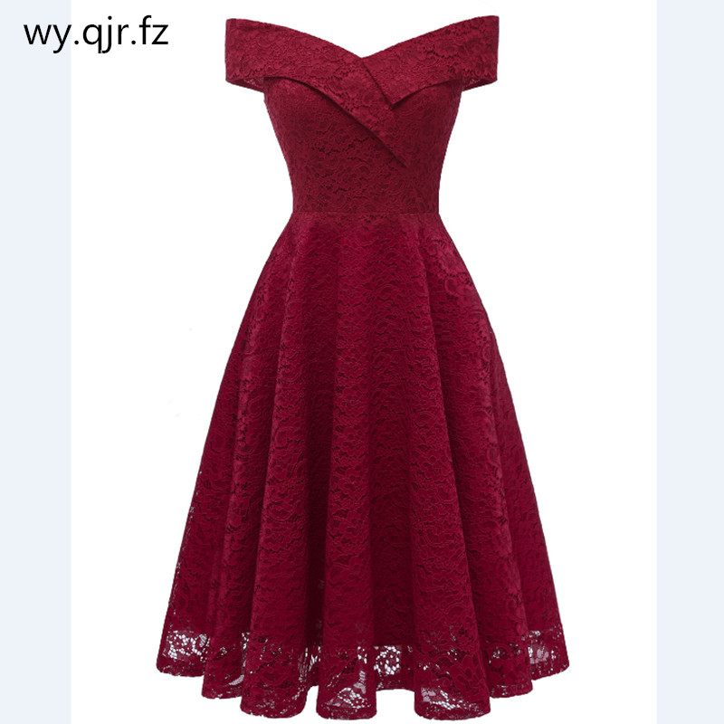 HYFZ9972#Boat neck Pink and wine red Short Lace   Evening     Dresses   party   dress   gown prom cheap wholesale Bride Wedding Toast girl