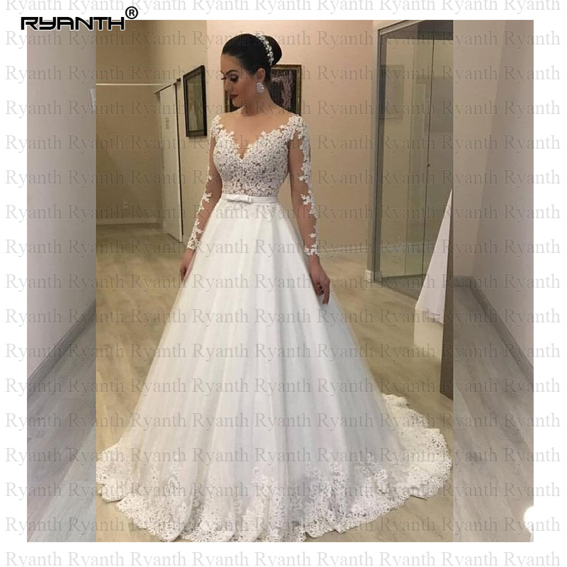 Cheap Vestido De Noiva Sexy Sheer Illusion O Neck Long Sleeves Lace Wedding Dress 2019 Princess Ball Gown Robe De Mariee