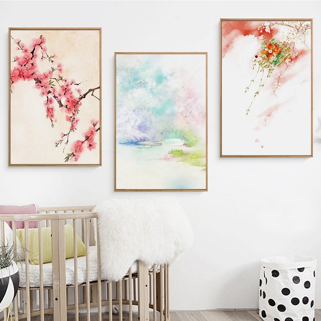 Amazing Modern Home Decor Japanese Wall Art Landscape Wall Pictures For Living Room  Flower Canvas Painting Wall