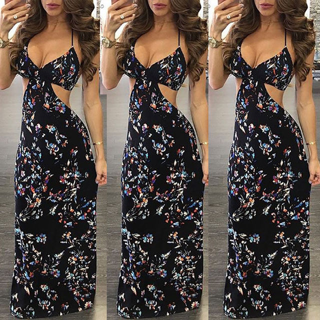 fe264537ad Boho Long Maxi Dresses Women Summer Evening Party Dress Beach Sundress  Black Halter Costume