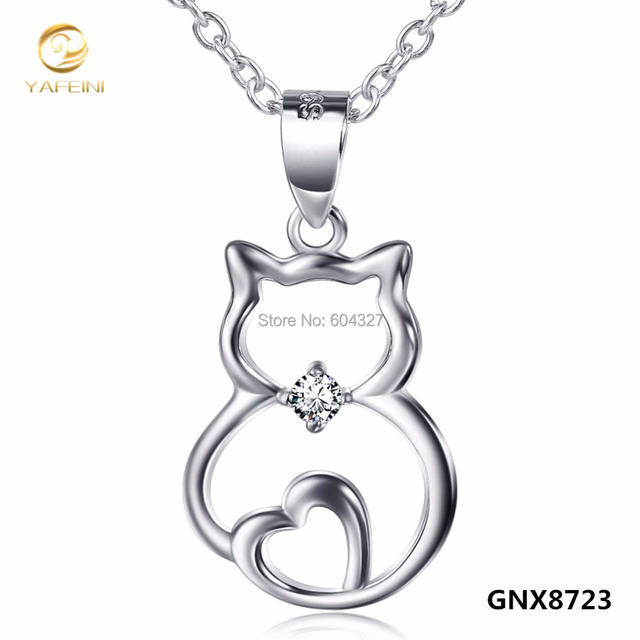 Wholesale Solid 925 Sterling Silver Cat Pendant Necklace Kitty Jewelry Animal Necklace For Women 18inches GNX8723