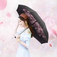 Pastoral Style Women Anti Sun Cherry Blossoms Mini Black Coating Aluminum Alloy Tube Umbrella Travel Carry Rainproof Umbrellas