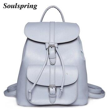 Brand Pu Leather Backpack Women School Bags For Teenagers Girls String Backpacks Medium Female Backpack Ladies Shoulder Bag 2018