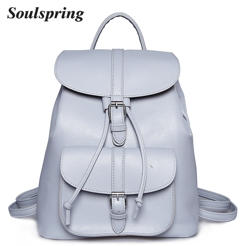 Brand Pu Leather Backpack Women School Bags For Teenagers Girls String Backpacks Medium Female Backpack Ladies Shoulder Bag 2018 brand women bow backpacks pu leather backpack travel casual bags high quality girls school bag for teenagers